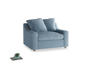 Cloud Love seat in Chalky blue vintage velvet