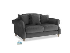 Small Sloucher Sofa in Scuttle grey vintage velvet