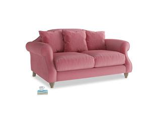 Small Sloucher Sofa in Blushed pink vintage velvet