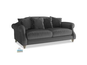 Medium Sloucher Sofa in Scuttle grey vintage velvet