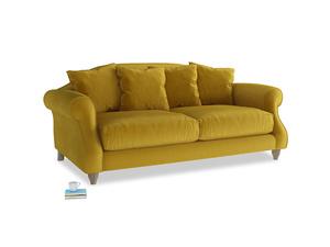 Medium Sloucher Sofa in Burnt yellow vintage velvet