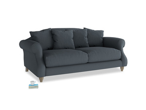 Medium Sloucher Sofa in Lava grey clever linen