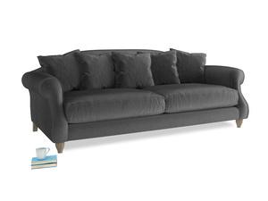 Large Sloucher Sofa in Scuttle grey vintage velvet