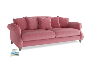 Large Sloucher Sofa in Blushed pink vintage velvet