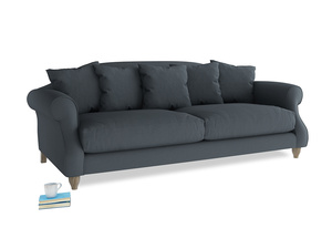 Large Sloucher Sofa in Lava grey clever linen