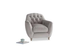 Butterbump Armchair in Soothing grey vintage velvet