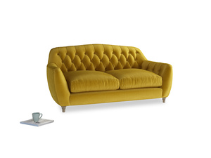 Medium Butterbump Sofa in Burnt yellow vintage velvet