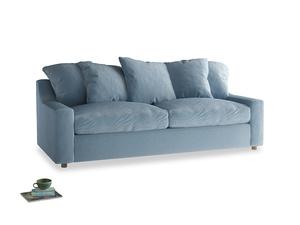 Large Cloud Sofa Bed in Chalky blue vintage velvet