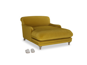 Pudding Love seat chaise in Burnt yellow vintage velvet