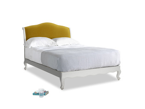Double Coco Bed in Scuffed Grey in Burnt yellow vintage velvet