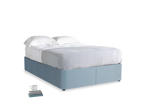 Double Store Storage Bed in Chalky blue vintage velvet