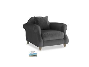 Sloucher Armchair in Scuttle grey vintage velvet