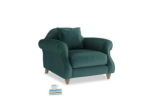 Sloucher Armchair in Timeless teal vintage velvet
