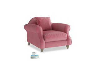 Sloucher Armchair in Blushed pink vintage velvet