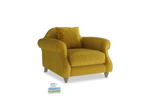 Sloucher Armchair in Burnt yellow vintage velvet