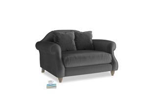 Sloucher Love seat in Scuttle grey vintage velvet