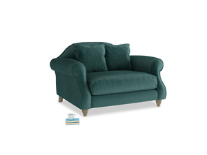 Sloucher Love seat in Timeless teal vintage velvet