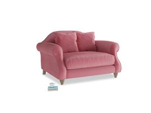 Sloucher Love seat in Blushed pink vintage velvet