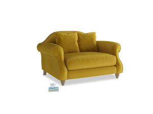 Sloucher Love seat in Burnt yellow vintage velvet