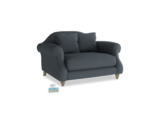 Sloucher Love seat in Lava grey clever linen