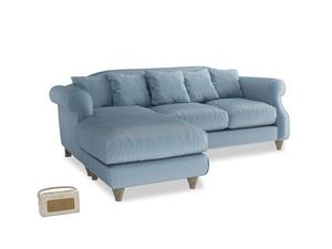 Large left hand Sloucher Chaise Sofa in Chalky blue vintage velvet