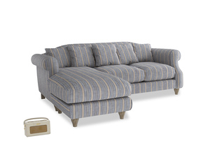 Large left hand Sloucher Chaise Sofa in Brittany Blue french stripe