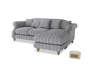 Large right hand Sloucher Chaise Sofa in Brittany Blue french stripe