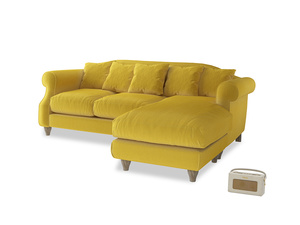Large right hand Sloucher Chaise Sofa in Bumblebee clever velvet