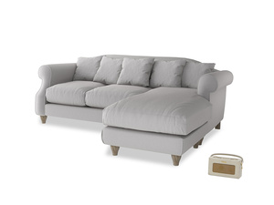 Large right hand Sloucher Chaise Sofa in Flint brushed cotton