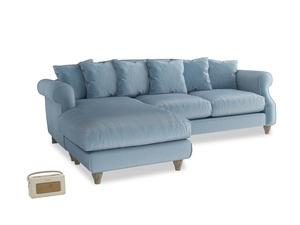 XL Left Hand  Sloucher Chaise Sofa in Chalky blue vintage velvet