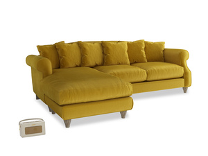 XL Left Hand  Sloucher Chaise Sofa in Burnt yellow vintage velvet
