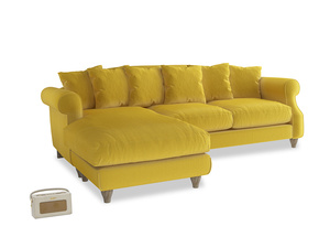 XL Left Hand  Sloucher Chaise Sofa in Bumblebee clever velvet