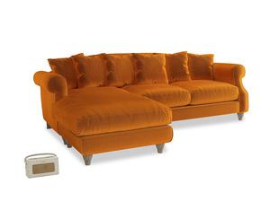 XL Left Hand  Sloucher Chaise Sofa in Spiced Orange clever velvet