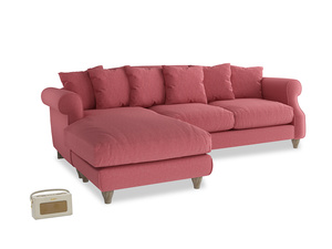 XL Left Hand  Sloucher Chaise Sofa in Raspberry brushed cotton