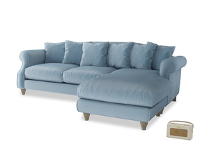 XL Right Hand  Sloucher Chaise Sofa in Chalky blue vintage velvet