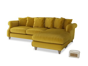 XL Right Hand  Sloucher Chaise Sofa in Burnt yellow vintage velvet