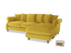 XL Right Hand  Sloucher Chaise Sofa in Bumblebee clever velvet