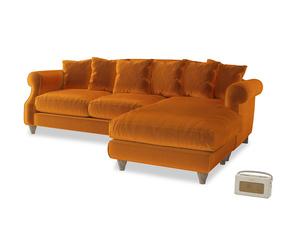 XL Right Hand  Sloucher Chaise Sofa in Spiced Orange clever velvet