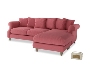 XL Right Hand  Sloucher Chaise Sofa in Raspberry brushed cotton