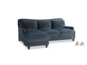 Large left hand Pavlova Chaise Sofa in Liquorice Blue clever velvet