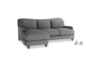 Large left hand Pavlova Chaise Sofa in French Grey brushed cotton