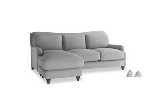 Large left hand Pavlova Chaise Sofa in Magnesium washed cotton linen