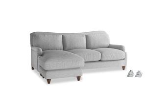 Large left hand Pavlova Chaise Sofa in Mist cotton mix
