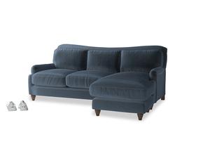 Large right hand Pavlova Chaise Sofa in Liquorice Blue clever velvet