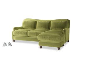 Large right hand Pavlova Chaise Sofa in Olive plush velvet