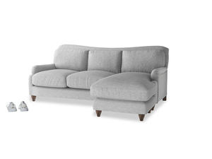 Large right hand Pavlova Chaise Sofa in Mist cotton mix