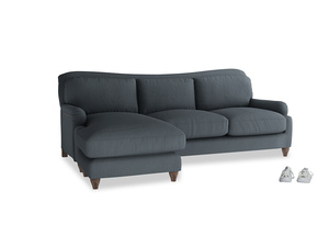 XL Left Hand  Pavlova Chaise Sofa in Lava grey clever linen