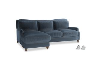 XL Left Hand  Pavlova Chaise Sofa in Liquorice Blue clever velvet