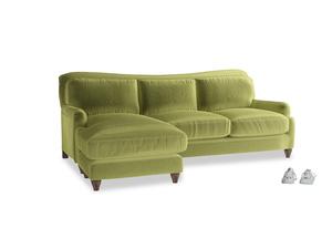 XL Left Hand  Pavlova Chaise Sofa in Olive plush velvet