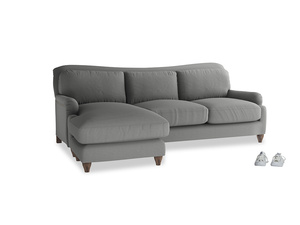 XL Left Hand  Pavlova Chaise Sofa in French Grey brushed cotton